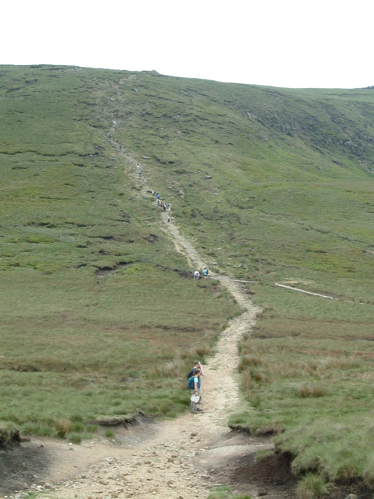 Lots of walkers on the Pennine Way near Mill Hill