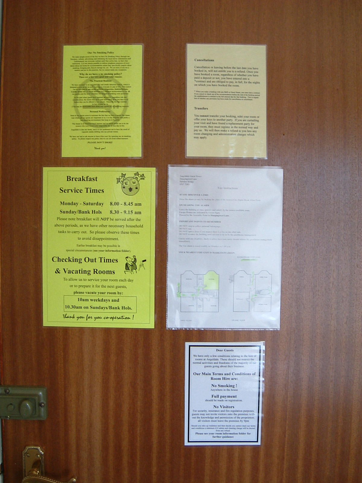 Notices on the back of my bedroom door in the Angeldale Guesthouse