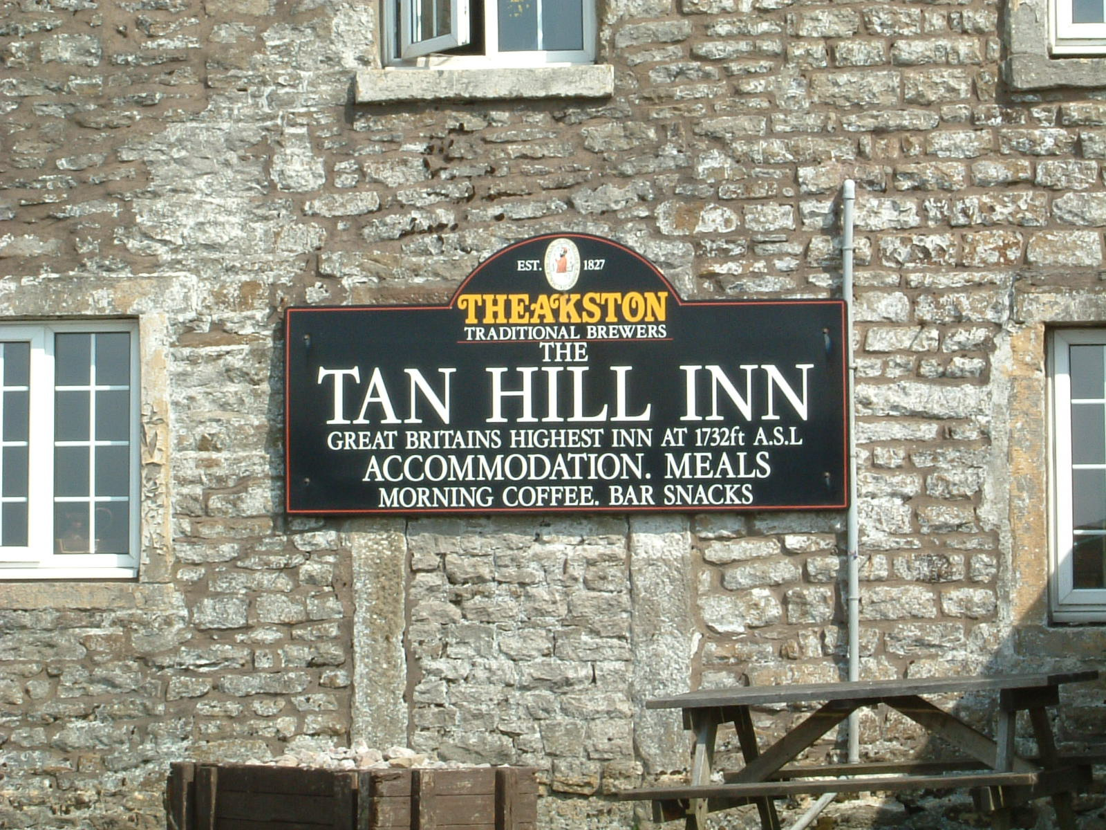 A sign proclaiming the Tan Hill Inn to be 'Great Britain's Highest Inn'