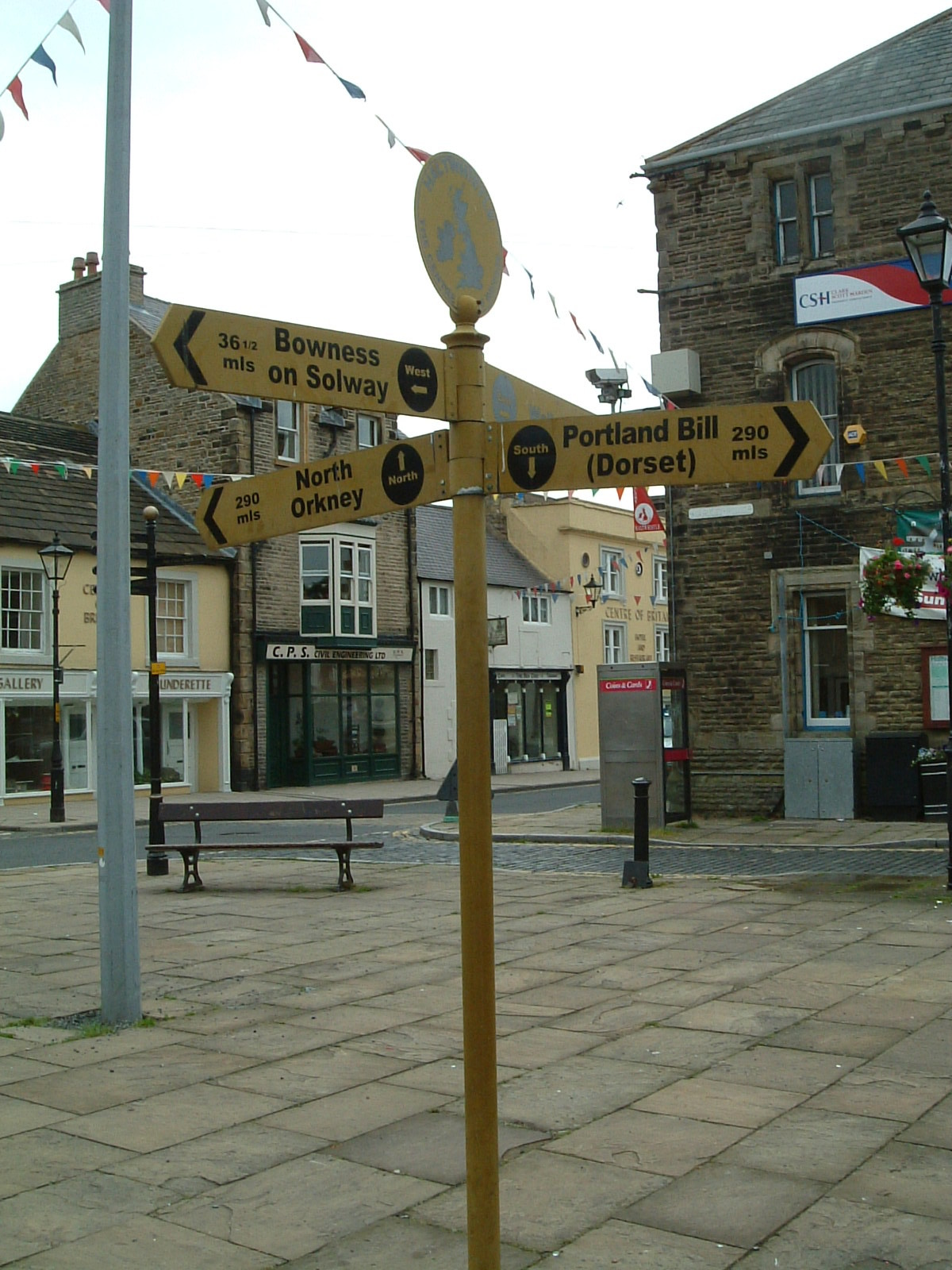 A sign showing distances to the four corners of Britain