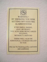 A No Smoking notice in the Angeldale Guesthouse