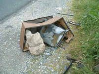 A smashed TV, north of Lothersdale