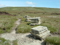 Piles of paving slabs on Great Shunner Fell