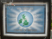 A sign saying 'Haltwhistle - The Centre of Britain'