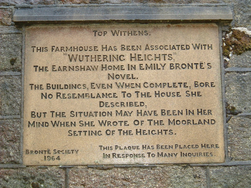 A sign explaining the connection between Top Withens and Wuthering Heights