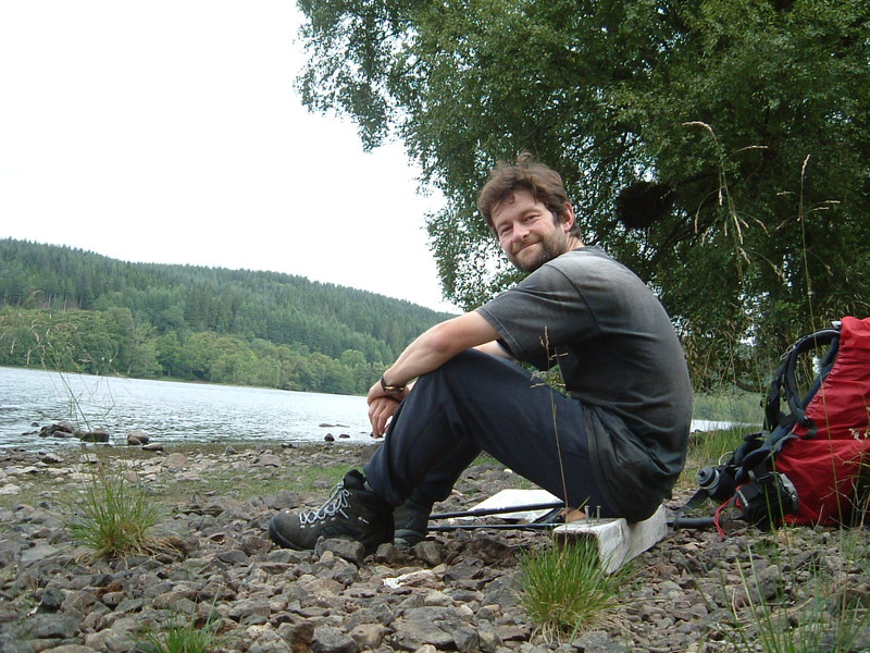 Mark resting by Loch Oich
