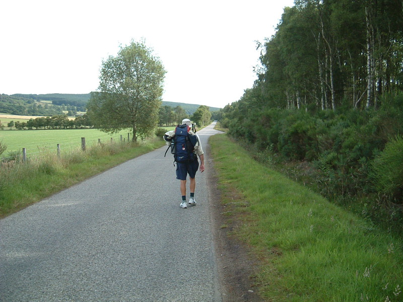 Barry walking along the lane to Tain