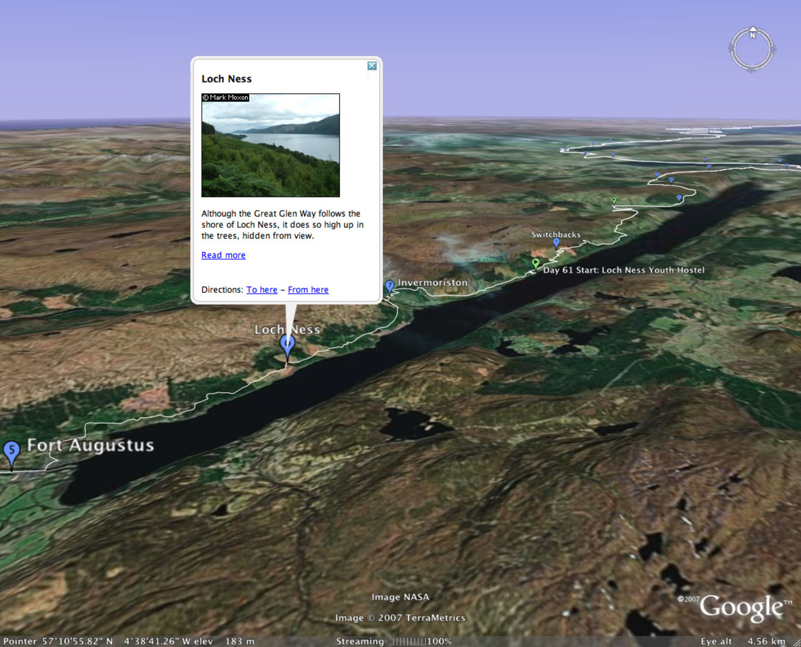 Google Earth showing the Great Glen and Loch Ness