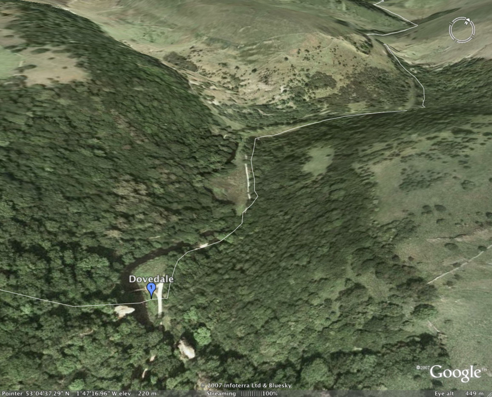 Google Earth showing a close-up of Dovedale