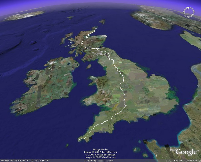 Google Earth showing the view northeast from Land's End to John o'Groats