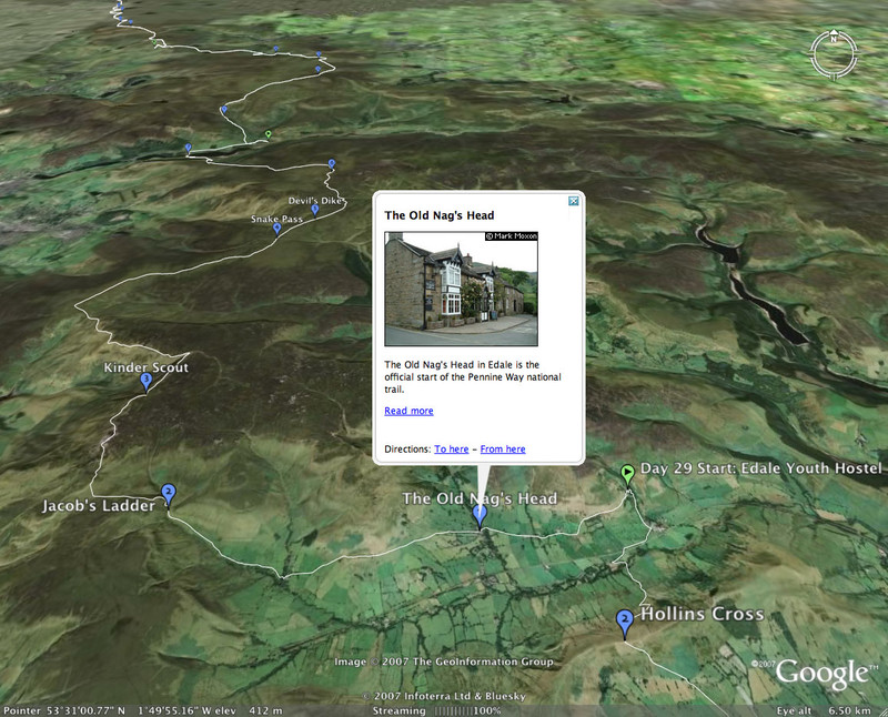 Google Earth showing the start of the Pennine Way