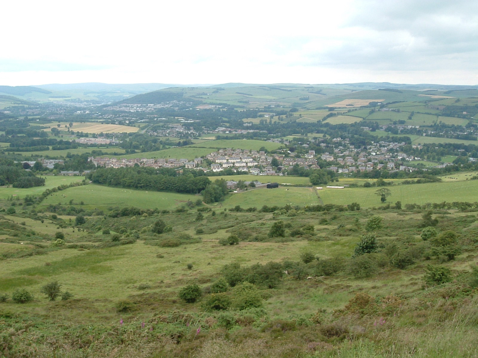 Melrose from the Eildon Hills, with Galashiels in the background