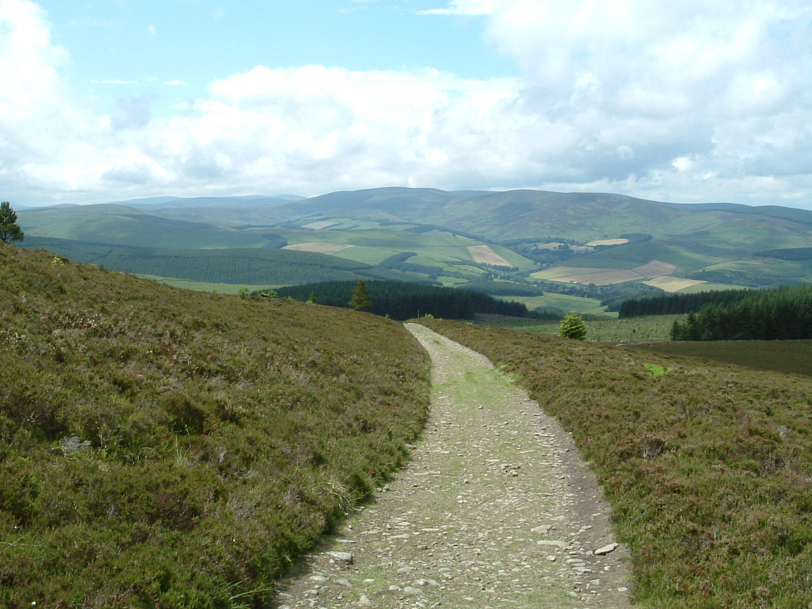 Descending from Elibank and Traquair Forest towards Traquair