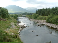 The view along the River Orchy from the bridge at Bridge of Orchy