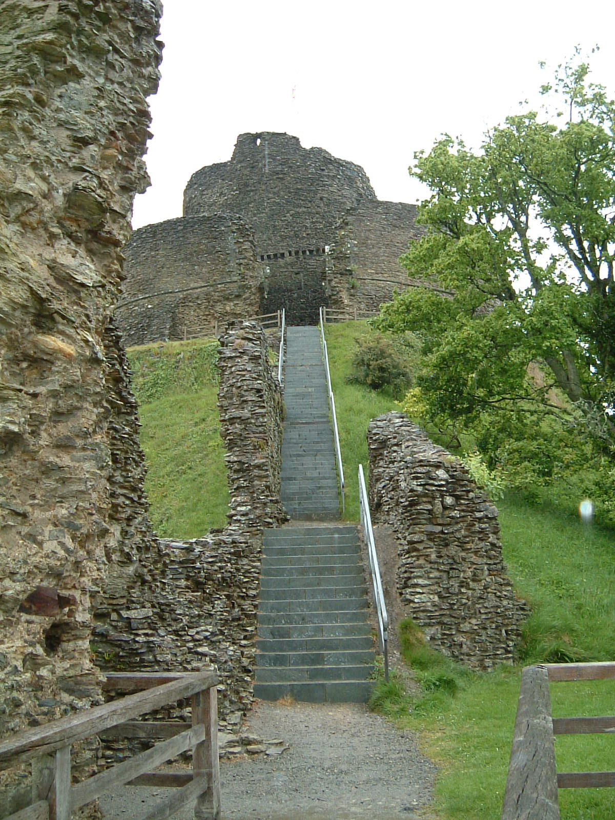 Looking up towards the keep of Launceston Castle