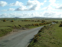 The road to Bodmin Moor across Lady Down