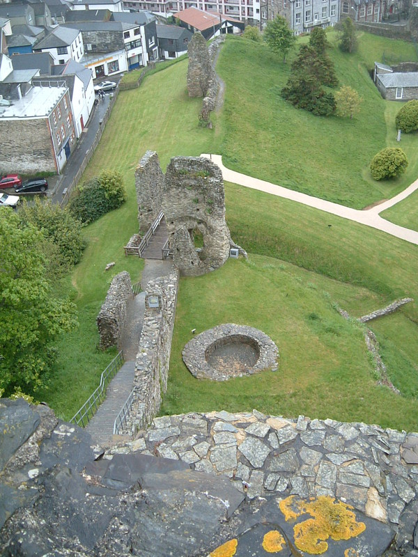 Looking down to the entrance to Launceston Castle