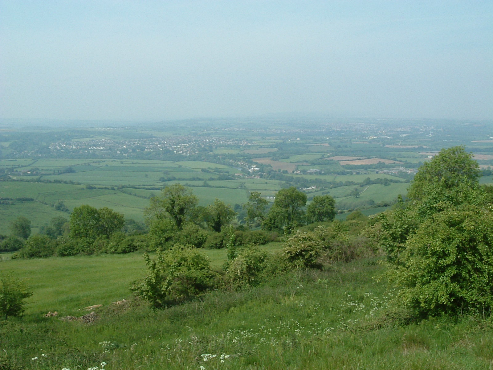 The view west from the Cotswold Way, looking towards Bristol