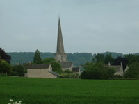 The huge spire of Painswick Church