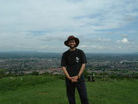 Mark on top of Robinswood Hill with Gloucester laid out in the background