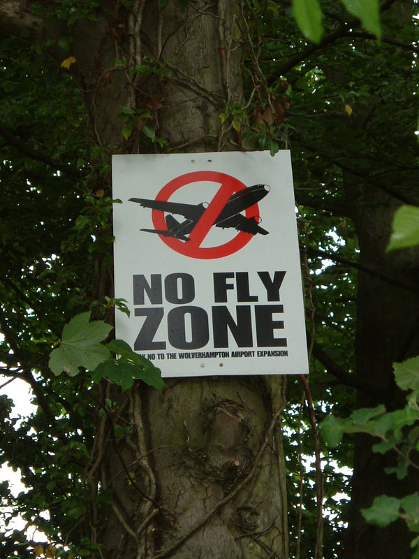 A sign saying 'No Fly Zone'