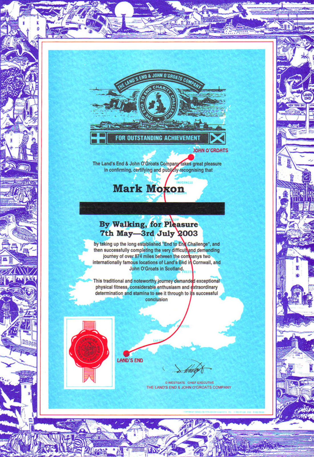 Mark's certificate from the Land's End and John o'Groats Company