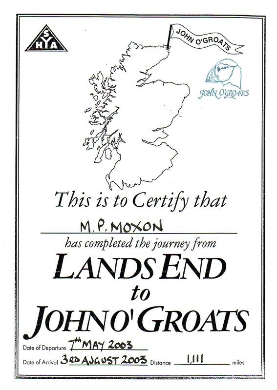 Mark's certificate from the Youth Hostel in John o'Groats